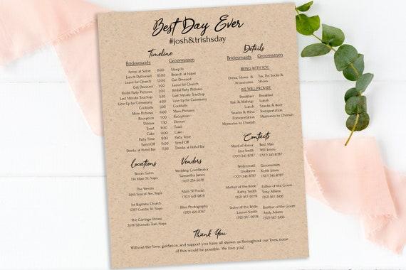 Rustic Wedding Party Timeline, Printable Wedding Day Schedule, Groomsmen Itinerary, Bridesmaid Agenda 100% Editable, Templett PPW0330