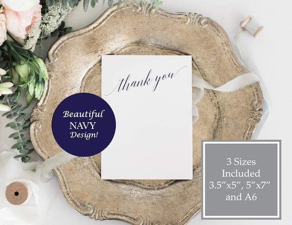 Navy Thank You Card, Wedding Card, Calligraphy Cards, Flat Card, Instant Download, Editable Template, A6, 5x7,  120N