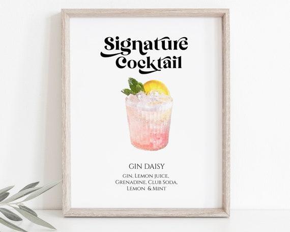 Watercolor Cocktail Bar Menu Sign Template, Wedding Signature Drink Menu, Event Decoration Modern Retro Sign, Personalize Editable PPW74