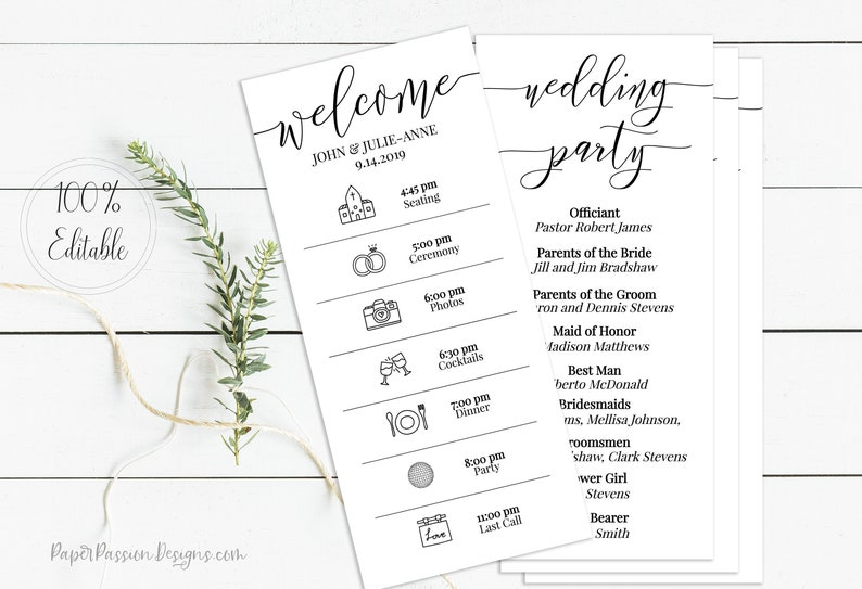 Wedding Timeline Program Printable Wedding Day Schedule image 0