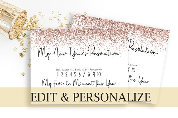 New Year's Resolution Printable, Pink Glitter New Years Resolution Photo Prop , Party Activity, New Year's Eve Party  NEW YEAR
