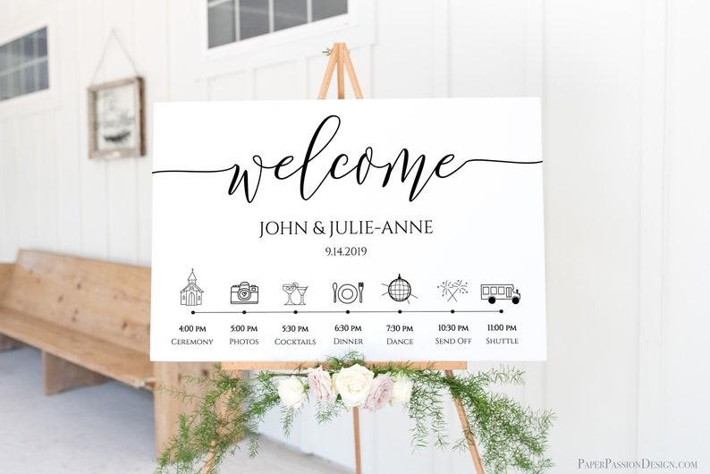 Wedding Welcome Timeline Sign  Minimalist Printable Timeline image 0