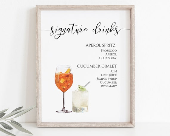 Signature Watercolor Drinks Sign, Bar Menu, Bride and Groom Cocktail Template, Wedding Printable, Instant Download, Editable PPW0550 Grace