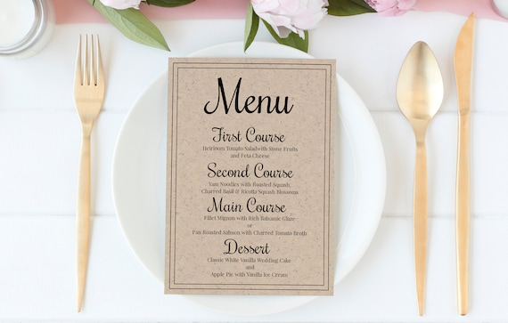 Wedding Menu Card, Event Table Decor, Simple Cursive Script Design, 100% Editable, Templett PPW0570
