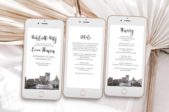 Georgia Electronic Invitation Template, Evite, Hen Party, Bridal Shower, Details, Itinerary PPW34 SAVANNAH