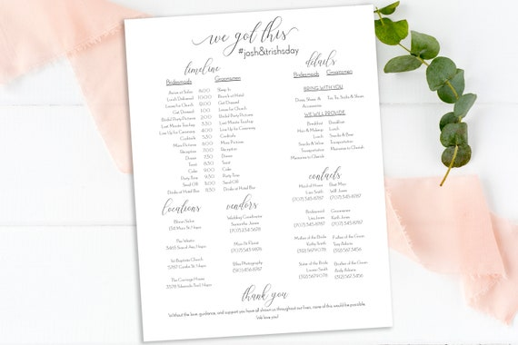 Wedding Party Timeline, Printable Wedding Day Schedule, Groomsmen Itinerary, Bridesmaid Agenda, 100% Editable, Templett  PPW0560