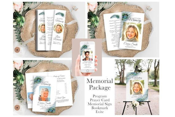 Peacock Feather Memorial Package Welcome Sign, Program, Prayer Card, Bookmark, Celebration of Life, Editable Corjl Template PPF4