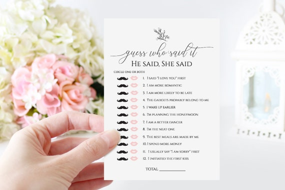 Wedding Bridal He Said She Said Game Template, Who Said It Bridal Shower Game, Rustic Modern Elegant Design, 100% Editable, Templett PPW0560