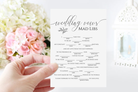 Wedding Vows Mad Libs Template, Bridal Shower Game, Rustic Modern Elegant Design 100% Editable, Templett PPW0560
