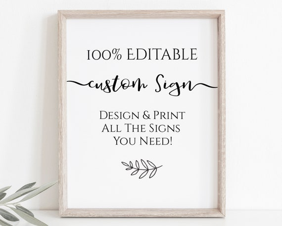 Custom Sign, Editable Wedding Sign, Bridal Shower Template, Personalized Sign Instant Download 100% Editable, Templett PPW0575