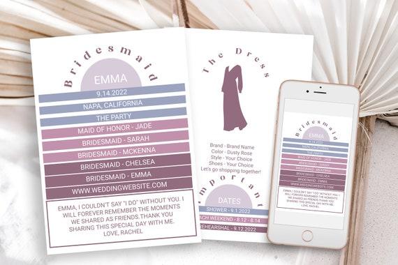 Modern Retro Bridesmaids Information Card, Printable Bridesmaid Details, Maid of Honor Proposal Box Editable PPW302 HEATHER