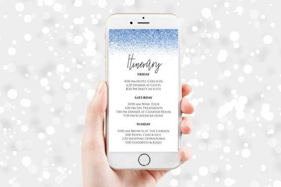 Blue Glitter Itinerary, Hen Party, Electronic Invitation, Bachelorette, Bridal Shower, Event Agenda, Editable Template, PPW90LightBlue