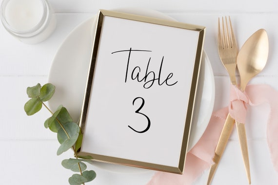 Table Number Cards, Wedding Table Decor, Elegant Calligraphy Display 100% Editable Template, Templett PPW0580
