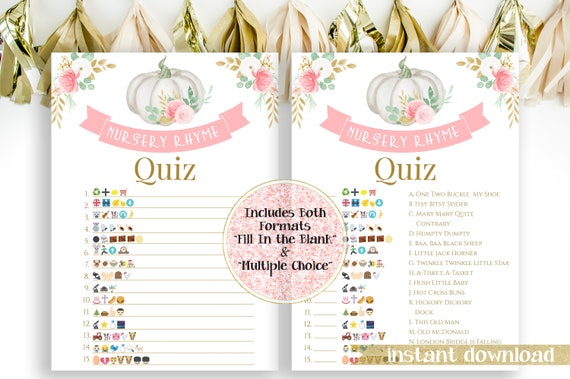 Sweet Pumpkin Emoji Nursery Rhymes Match Quiz ~ Pink and Gold Baby Shower ~ Baby Girl Pumpkin Design ~ Printable Game PPB130