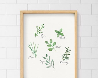 Herbs Wall Art, Herbal Print, Kitchen Decor, Watercolor herbs, Home decor, Herbs print, Green, Thyme, Basil, Mint, Rosemary, Sage, Chives