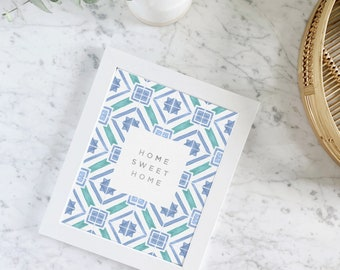 Home Sweet Home wall art print - Portugal inspired - Lisbon tiles - Homewarming gift - Gifts for mom