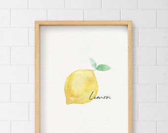 Lemon Wall Art, Fruit Print, Kitchen Decor, Watercolor lemon, Home decor,  Yellow, Citric, Limón, Lime