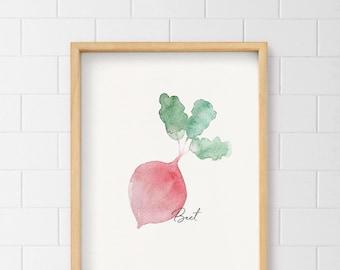 Beet Wall Art, Veggie Print, Fruit Print, Kitchen Decor, Watercolor beets, Home decor, Purple, Remolacha, Fresh food, Healthy eating