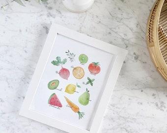 Fruits & Veggies Wall Art, Fruits and Vegetables Print, Kitchen Decor, Watercolor fruits, Home decor, Fruits print, Vegetables print,