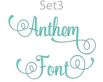 5 Size Anthem Font Embroidery Fonts BX Set 3  9 Formats Embroidery Pattern Machine BX Embroidery Fonts PES