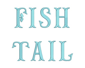3 Size Fish Tail Font Embroidery Fonts BX  9 Formats Embroidery Pattern Machine BX Embroidery Fonts PES