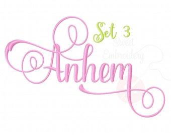 5 Sizes Anthem Font Embroidery Fonts BX Set 3 9 Formats Embroidery Pattern Machine BX Embroidery Fonts PES