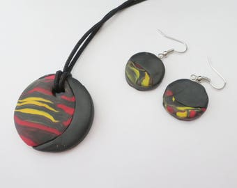 Polymer clay necklace and earring set