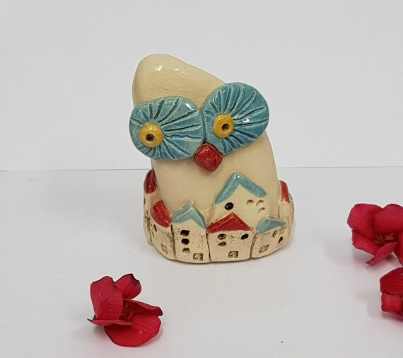 Owl Decor Kitchen Statue Ceramic Owl Decor Lovely Garden | Etsy