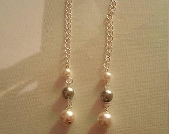 Multi color pearl beaded earrings