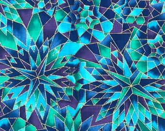 Pablos Razzles Cotton Fabric Blue Purple Green Stained Glass Kaleidoscope Hoffman International QSQ OOP BTY