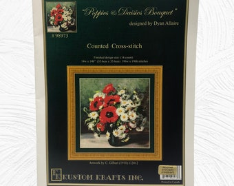 Poppies & Daisies Bouquets Count Cross Stitch Leaflet, Dyan Allaire Designer, Kustom Krafts, Inc. 98973 Printed In 2012
