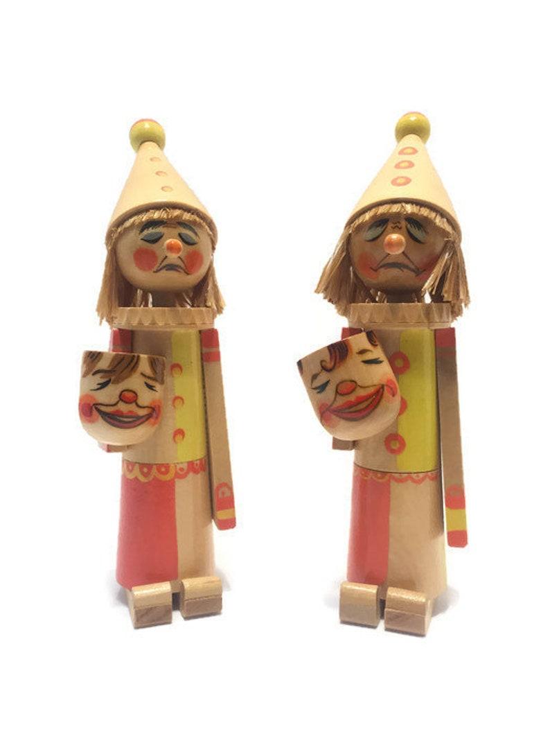 Wooden Clowns Happy Sad Masks Made in Switzerland Rare 9 image 0