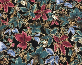 Countryside Collection Fall Leaves & Berries Multi-Colored With Gold Metallic Teal, Blue, Green, Red, Gold Hoffman International QSQ 1 Yard