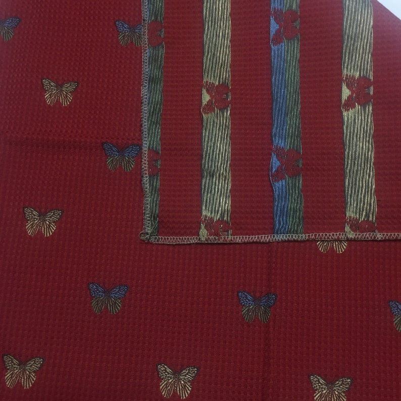 Highland House Upholstery Sample Colorful Butterflies Red Background 21 X 25