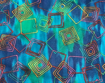 Abstract Chained Squares On Multi-Colored Background Cotton Fabric Hoffman International QSQ OOP 1 3/4 Yards