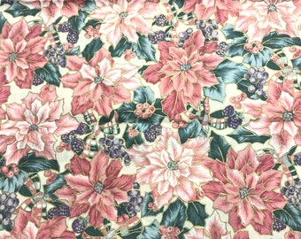 Pink Poinsettia's With Purple Berries And Gold Metallic Christmas Cotton Fabric Hi-Fashion Fabrics, OOP 1 Yard