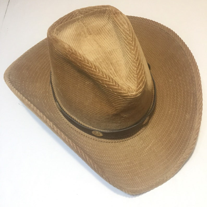 Resistol Western Cowboy Hat Tan Corduroy With Brown Leather  a0503917370