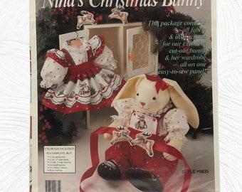 Daisy Kingdom Nina's Christmas Bunny Cut And Sew Panel, Rabbit Doll and Wardrobe, No. 9835, Vintage 1991