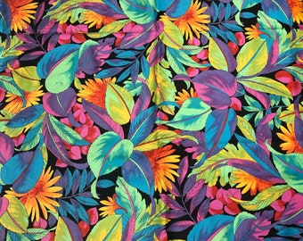"""Neon Tropical Hawaiian Leaves Cotton Fabric Purples, Greens, Blues, Oranges, Yellows, Pinks QSQ Or Apparel 45"""" Wide OOP"""