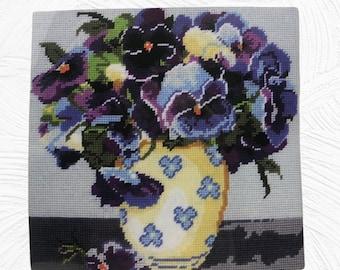 "Pansies Needlepoint Kit, 10"" X 10""  Purple, Yellow, Green, Blue Design Works 2523"
