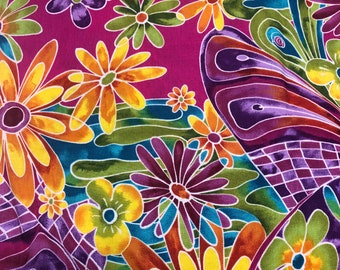 """Good Vibrations Alexander Henry 100% Cotton Vibrant Floral Fabric, Flower Power, Groovy, QSQ, 46"""" X 43"""" OOP"""