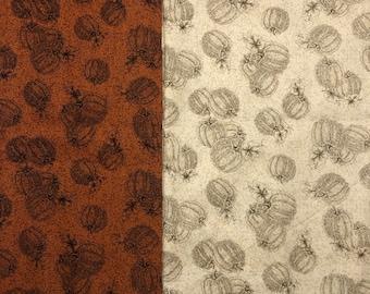 "Autumn Fall Pumpkins Cotton Fabric Thanksgiving, Halloween, QSQ Rust Brown/Beige You Choose Color 27"" X 44"" OOP"