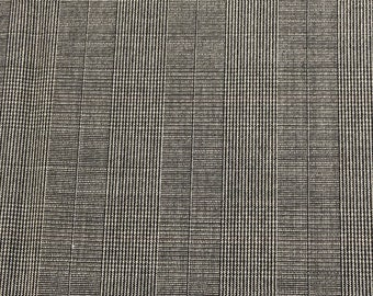 """Vintage Silk Blend Plaid And Houndstooth Suiting Fabric Gray And Charcoal 4 Yards 144"""" X 61"""" Wide No Stretch"""