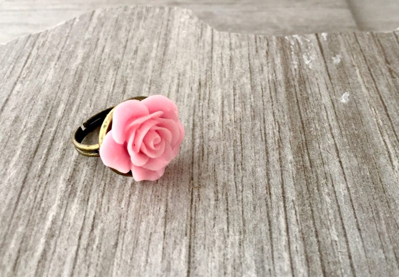 Pink Rose Ring Rose Ring Pink Flower Ring Pink Rose Jewelry Shabby Chic Ring Rose Cabochon Ring Gift for Her Mothers day