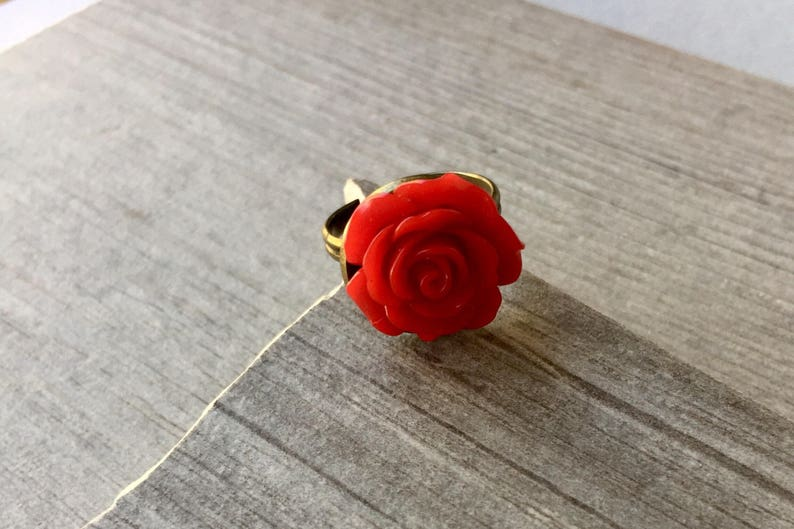 floral ring Rose Ring flower jewelry gift for her,mothers day Red Rose Ring,Adjustable Ring,Red Flower gift for mom rose jewelry