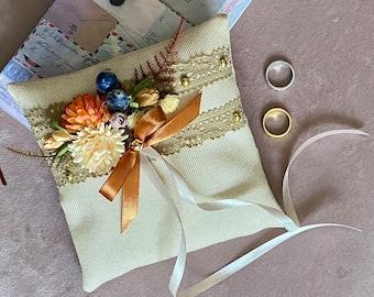 Fall Wedding Ring Bearer Pillow Elegant Rustic Vintage Real Birch Bark Autumn Country Garden Gift keepsake