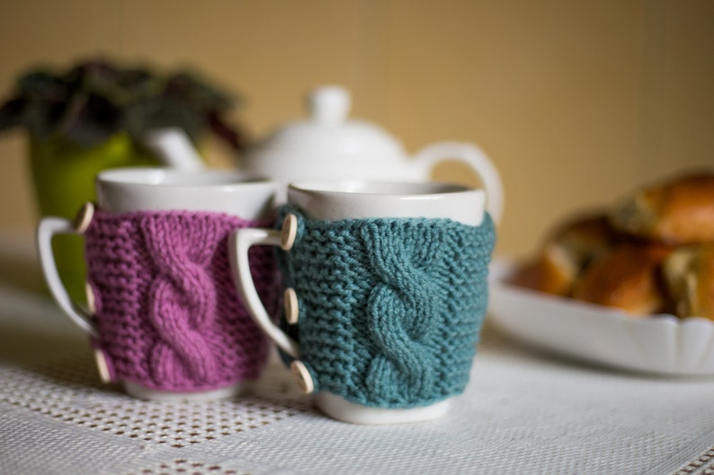 Set of 2 Knit cups knit coffee cozy cup warmer coffee cozy cup sleeve cozy cup knit mug cozy mug warmer tea cup cozy Christmas gift
