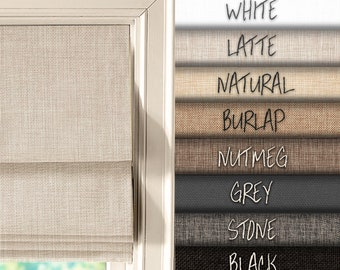 """SALE - Complete custom roman shade in linen look - made to order, up to 60"""" wide"""