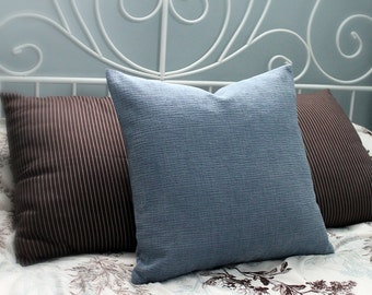 Light blue chenille cushion cover