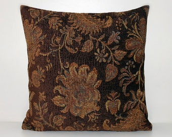 Brown paisley chenille cushion cover